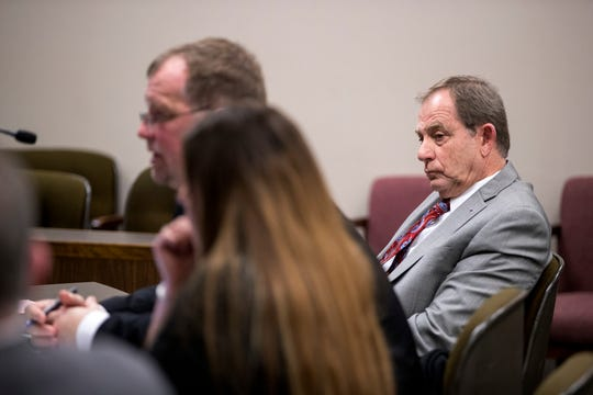 Defense attorneys Arnie Augenstein (from left) and Chris Gale represent former Judge Guy Williams during a hearing  before Bexar County visiting Judge Sid Harle on Williams' misdemeanor resisting arrest case on Monday, January 14, 2019 at the Nueces County Courthouse. They requested that several of Williams' bond conditions be lifted.