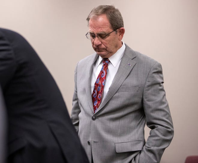 Former Judge Guy Williams stands following a hearing before Bexar County visiting Judge Sid Harle on Williams' misdemeanor resisting arrest case on Monday, January 14, 2019 at the Nueces County Courthouse.