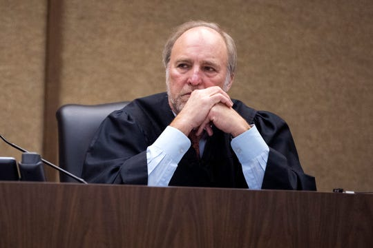 Bexar County visiting Judge Sid Harle hears defense motions to remove bond contains on the misdemeanor resisting arrest case of former judge Guy Williams' on Monday, January 14, 2019 at the Nueces County Courthouse.