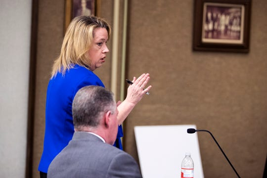 Jane Starnes, a prosecutor with the Attorney General's Office, addresses the motion requesting the removal of bond conditions during a hearing befpre Bexar County visiting Judge Sid Harle on former judge Guy Williams' misdemeanor resisting arrest case on Monday, January 14, 2019 at the Nueces County Courthouse.