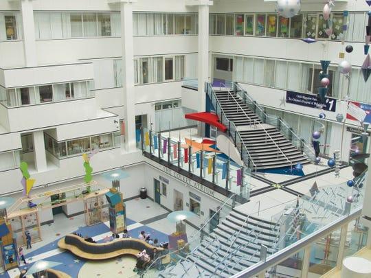 An atrium greets visitors at Children's Hospital of Philadelphia.