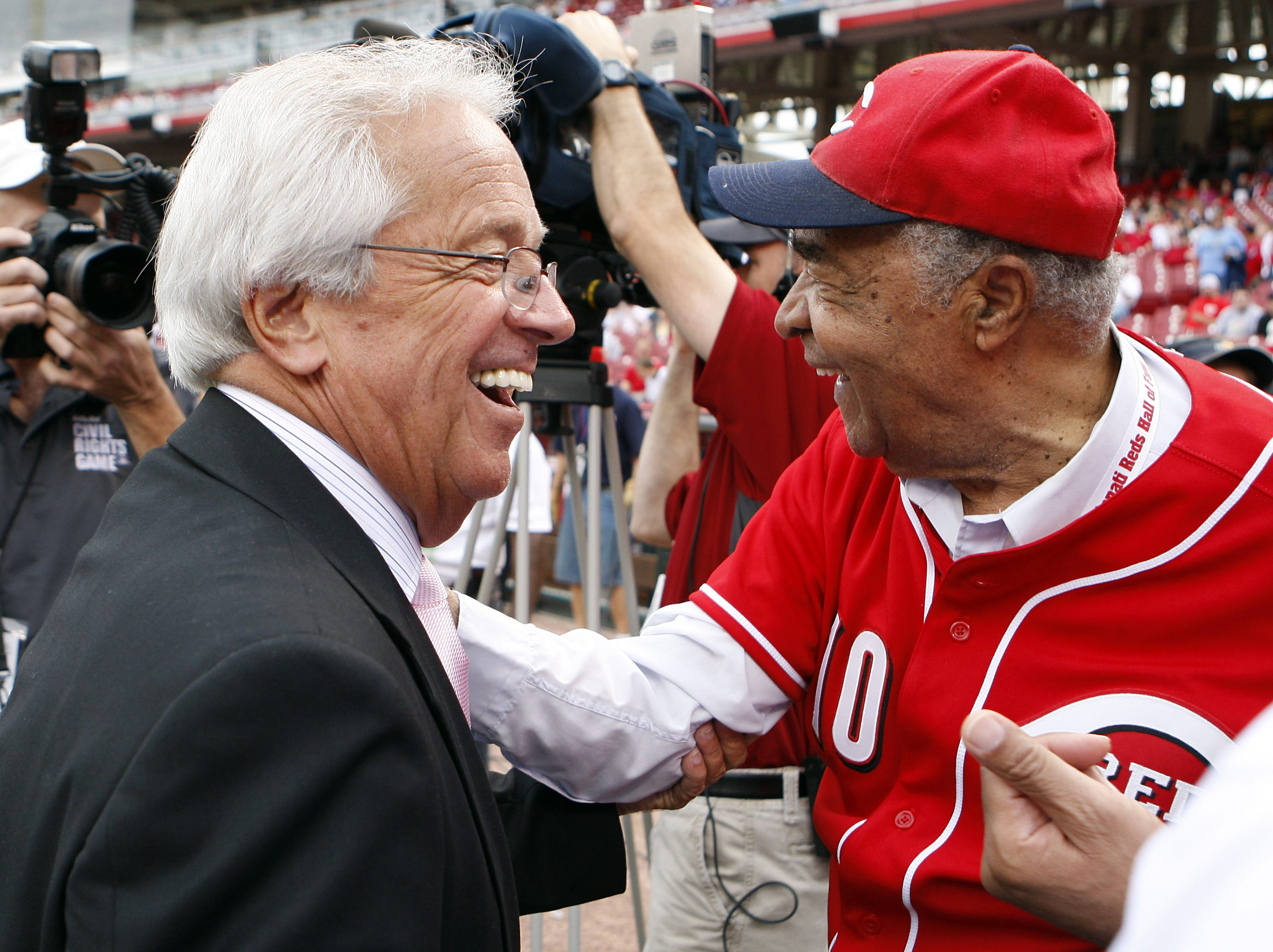 MAY 15, 2010. Reds announcer Marty Brennaman, left, and former Reds Chuck Harmon talk beforethe Civil Rights Game at Great American Ball Park. Harmon was the first African American player for The Reds.Photo shot Saturday May 15, 2010. The Enquirer/ Cara Owsley.