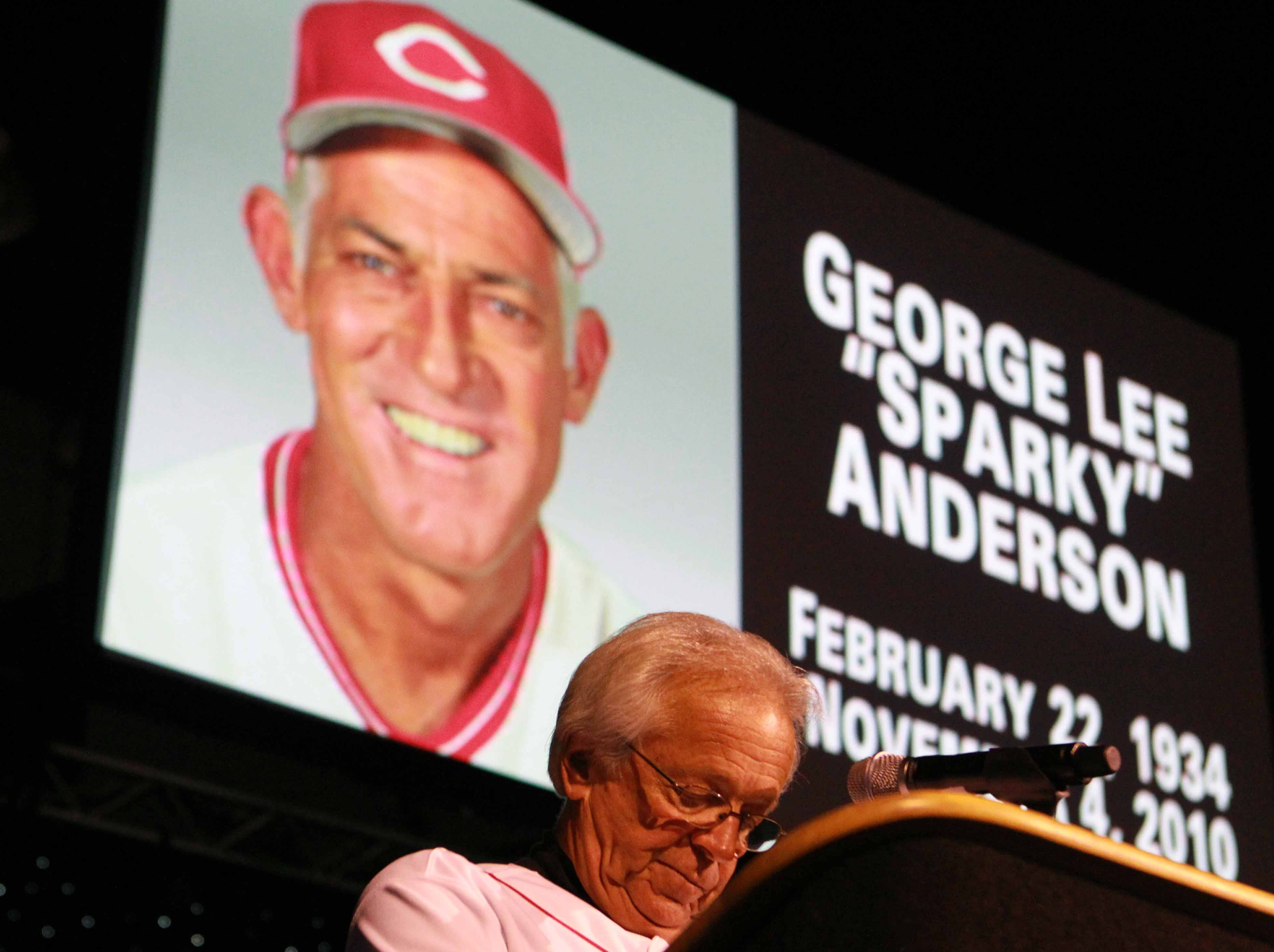 Redsfest Metro Friday December 3, 2010: Marty Brennaman lowers his head for a moment of silence for Sparky Anderson during RedsFest at Duke Energy Convention Center Friday December 3, 2010 in Downtown, Cincinnati. The Enquirer/ Joseph Fuqua II