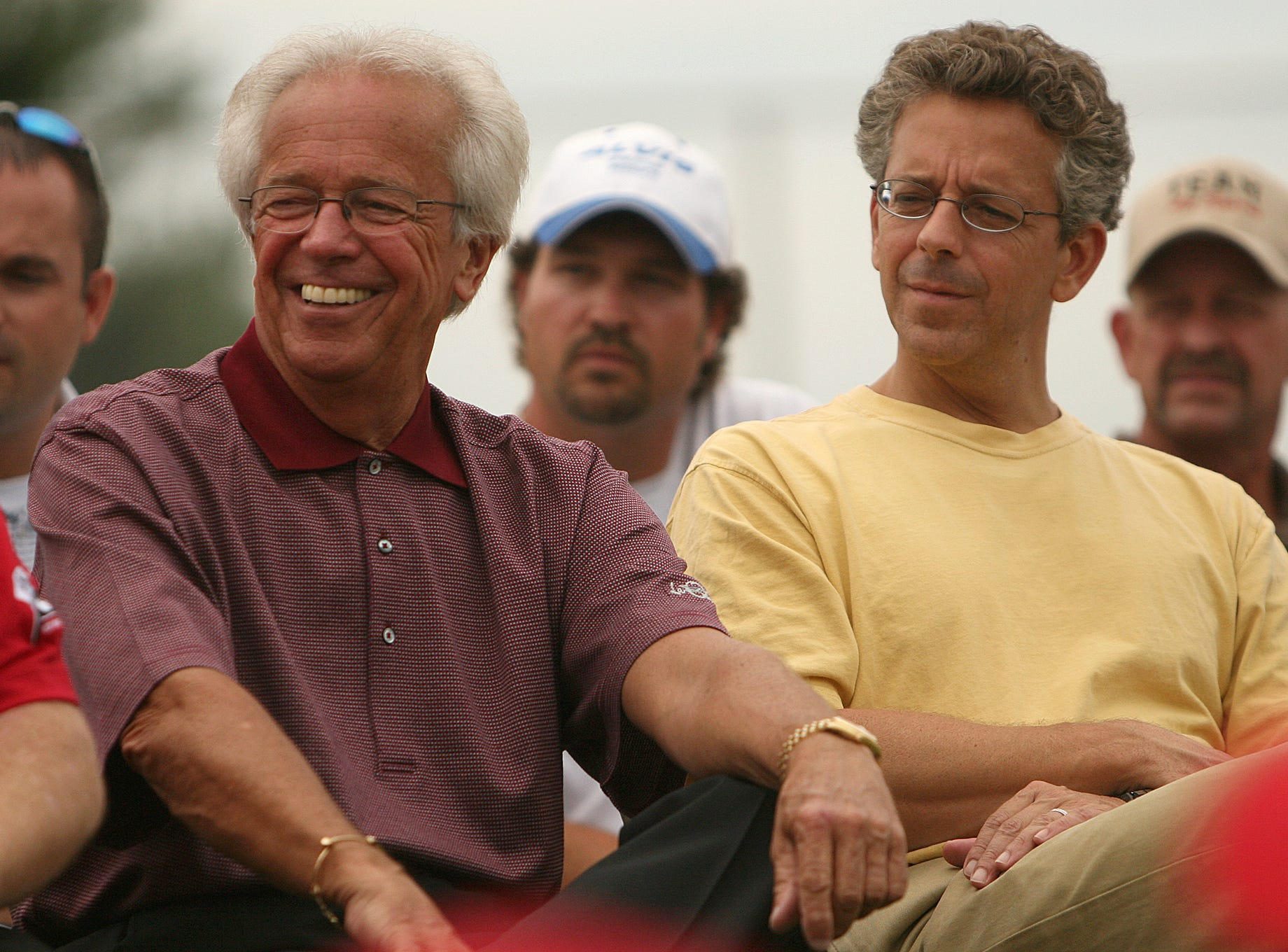 Friday, July 25, 2008: Hometown/ SE/ Anderson Twp. Marty and Tom Brennaman listen during the Juilf's Park Marty Brennaman field dedication on Friday, July 25.