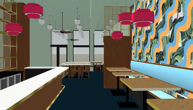 A rendering of the interior of Pho Lang Thang Vietnamese restaurants' new location on Race Street