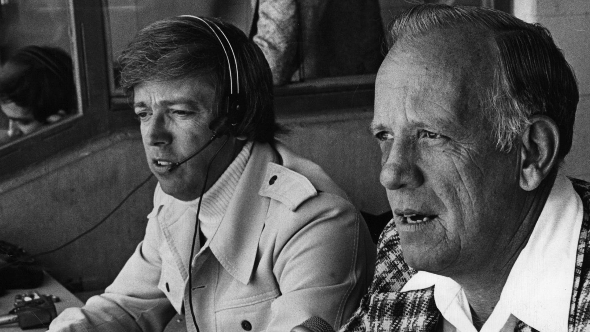 """APRIL 11, 1976: Reds' Mikemen Marty Brennaman, left, and Joe Nuxhall. The Enquirer/Bob Free scanned September 14, 2012 FROM A SUNDAY APRIL 11, 1976 ARTICLE BY DAVID FUSELIER, ENQUIRER SPORTS REPORTER: Marty Brennaman is an unabashed rooter, sort of a professional fan. Different broadcasters profess different allegiances, but you know immediately this one belongs to the Reds. """"Yeah, I'm a homer,"""" he says with no shame. """"I plead guilty to that."""" But he points out not so long ago he was working high school games for a tiny radio station in Salisbury, N.C. Now he sits in booth A at Riverfront Coliseum and his voice radiates electronically through 124 stations in seven states."""