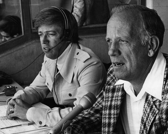 APRIL 11, 1976: Reds' Mikemen Marty Brennaman, left, and Joe Nuxhall.