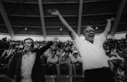 SEPTEMBER 7, 1979: Marty Brennaman, left, and Joe Nuxhall, right.