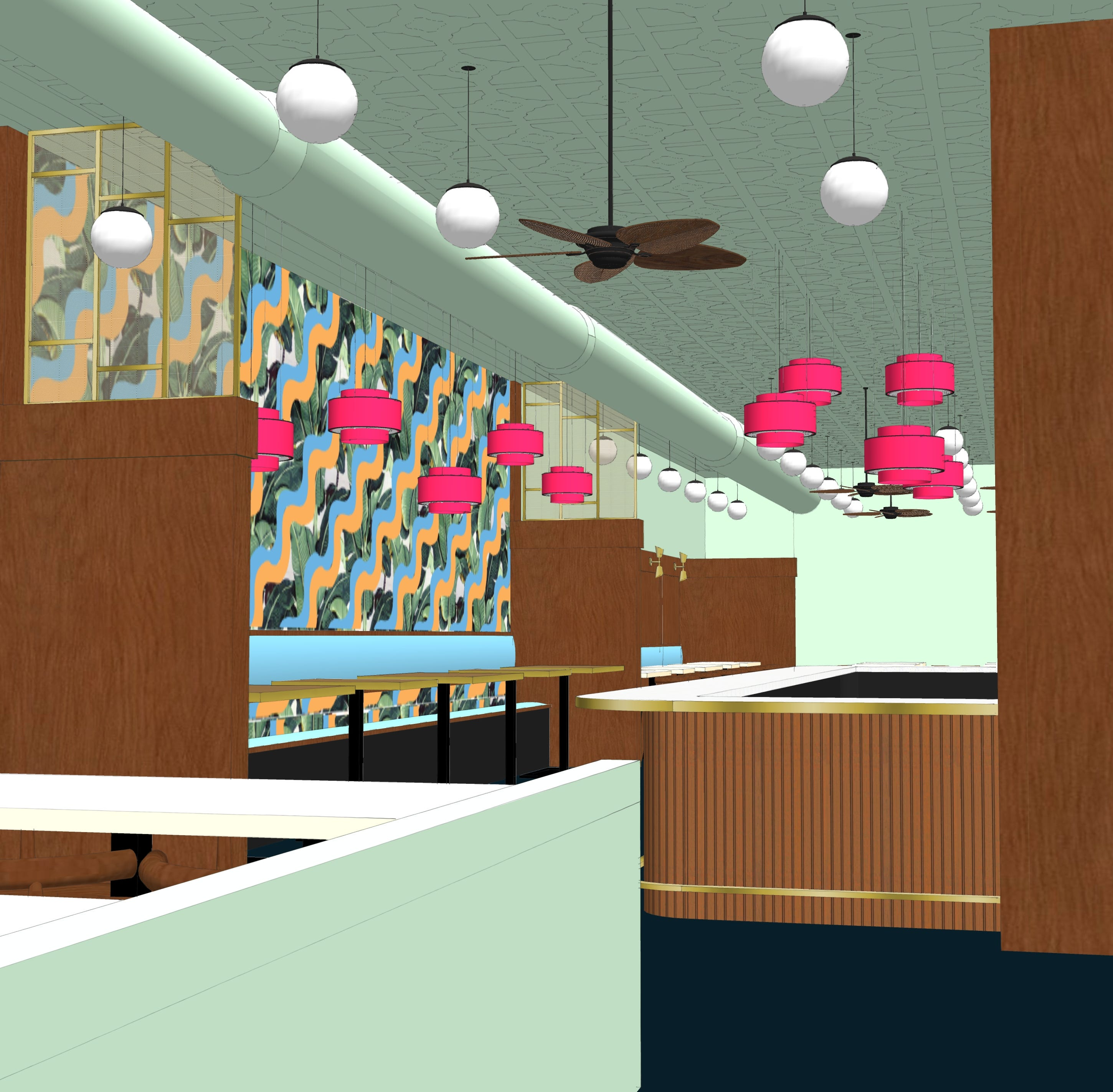A rendering of Pho Lang Thang Vietnamese restaurant's new location on Race Street
