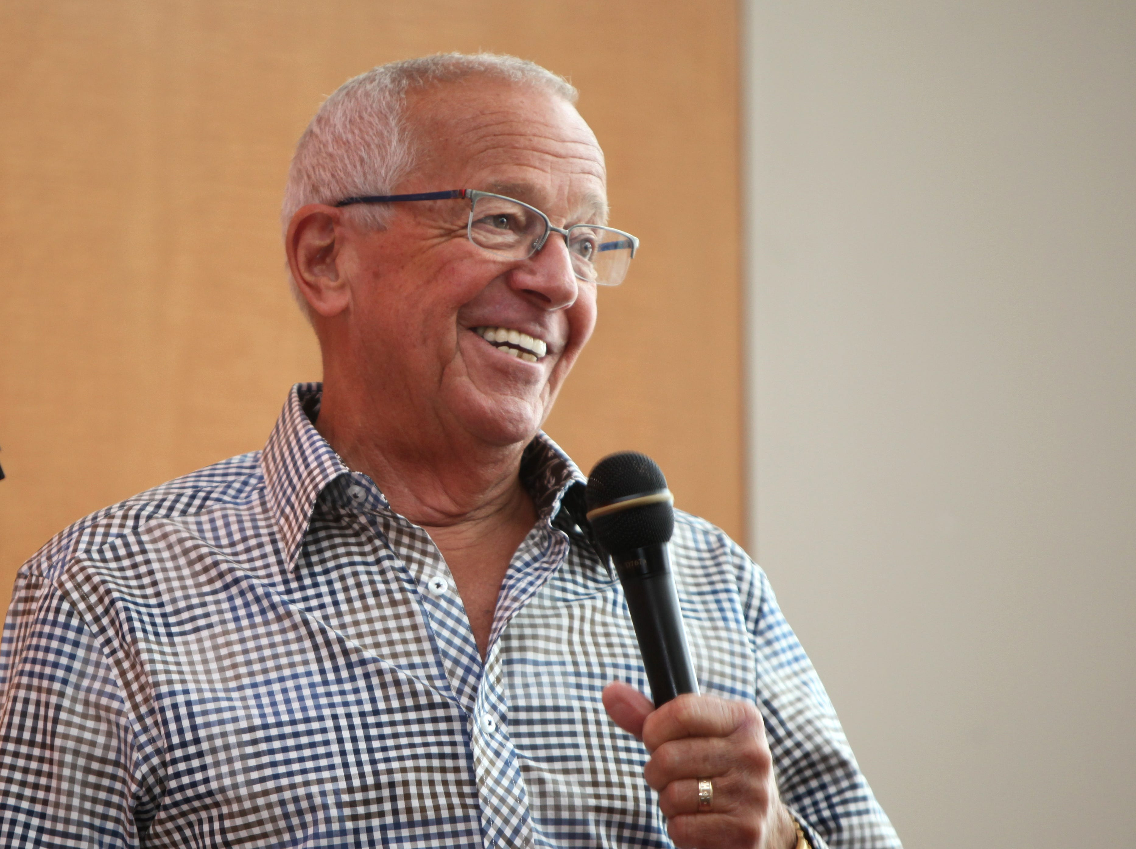 REDS CARAVAN QA Sun., January 25, 2015 Cincinnati Reds announcer Marty Brennaman responds to a fan during a question and answer session during the Select-A-Seat event at Great American Ball Park on Sunday, Jan. 25, 2015. The Enquirer/Cameron Knight