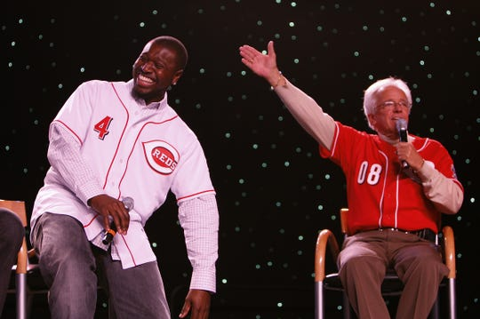 2008.12.13 REDSFEST SPORTS  : The Cincinnati Reds Brandon Phillips and Marty Brennaman react to questions during a Kids Only Press Conference at Reds Fest XI at the Duke Energy Convention Center Saturday December 12, 2008. The Enquirer/Jeff Swinger