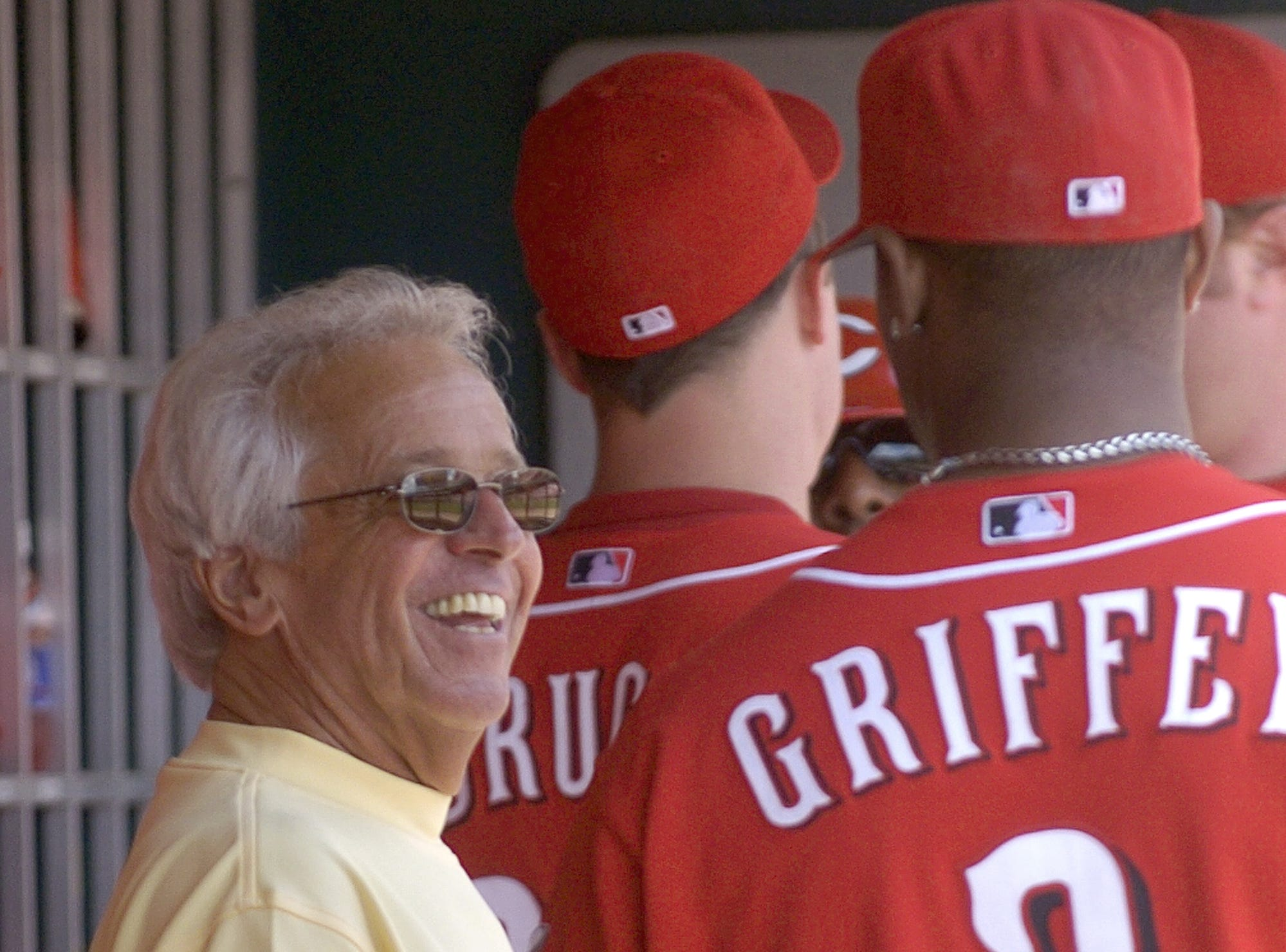 SUNDAY JUNE 1, 2008  REDS  SPORTS Reds broadcaster and Hall of Famer Marty Brennaman talk in the dugout prior to the game. The CIncinnati Reds beat the Atlanta Braves 6-2 to complete a three game sweep at the Great American Ball Park.  Ken Griffey, Jr. failed to hit his 600th career home run.  The Enquirer / Michael E. Keating