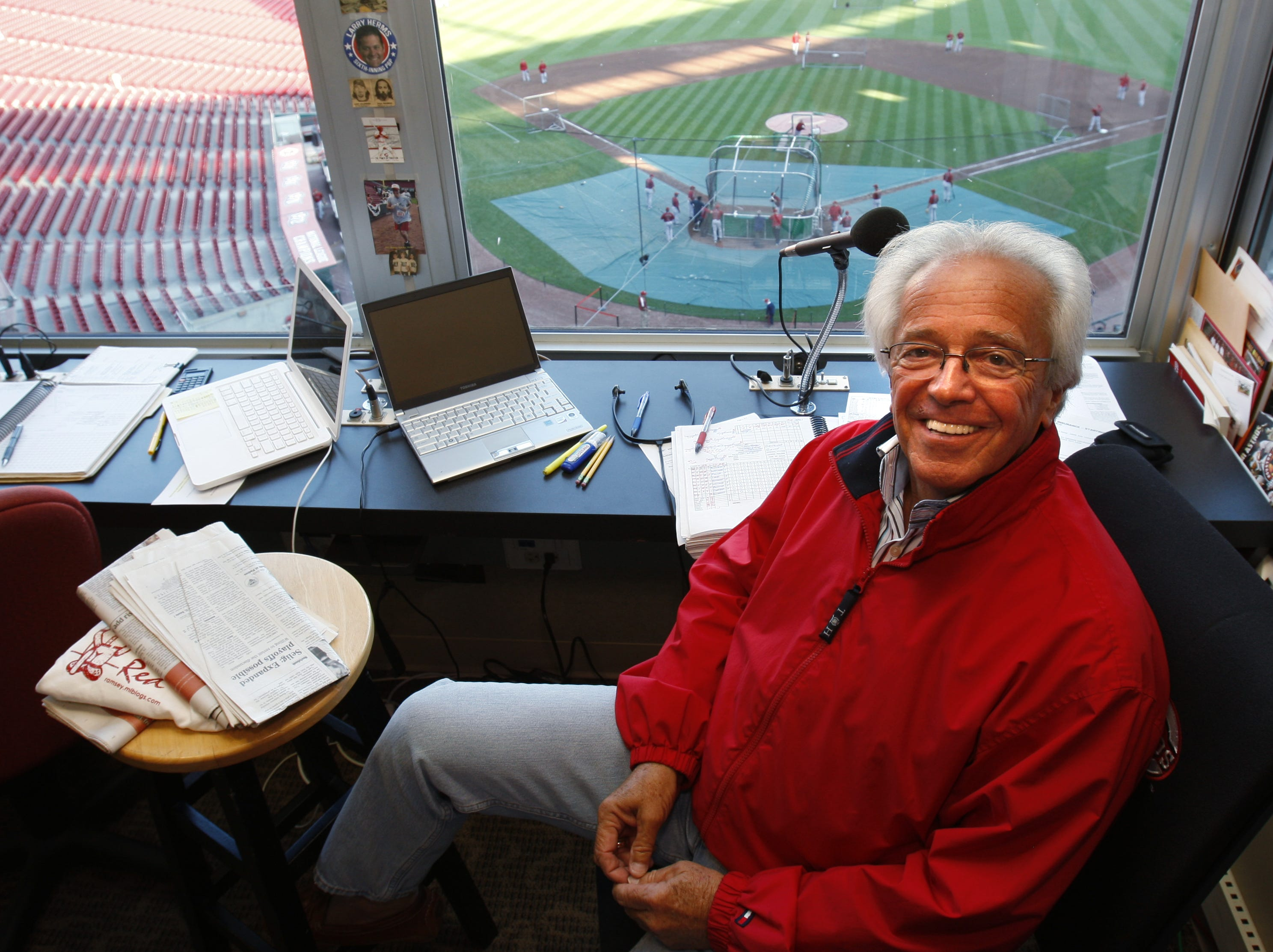 REDS ASTROS. SPORTS. SEPTEMBER 29,2010. Cincinnati Reds radio broadcaster Marty Brennaman prepares for the game in his broadcast booth before the start of their game against the Houston Astros at Great American Ball Park in Cincinnati, Ohio Wednesday September 29, 2010.