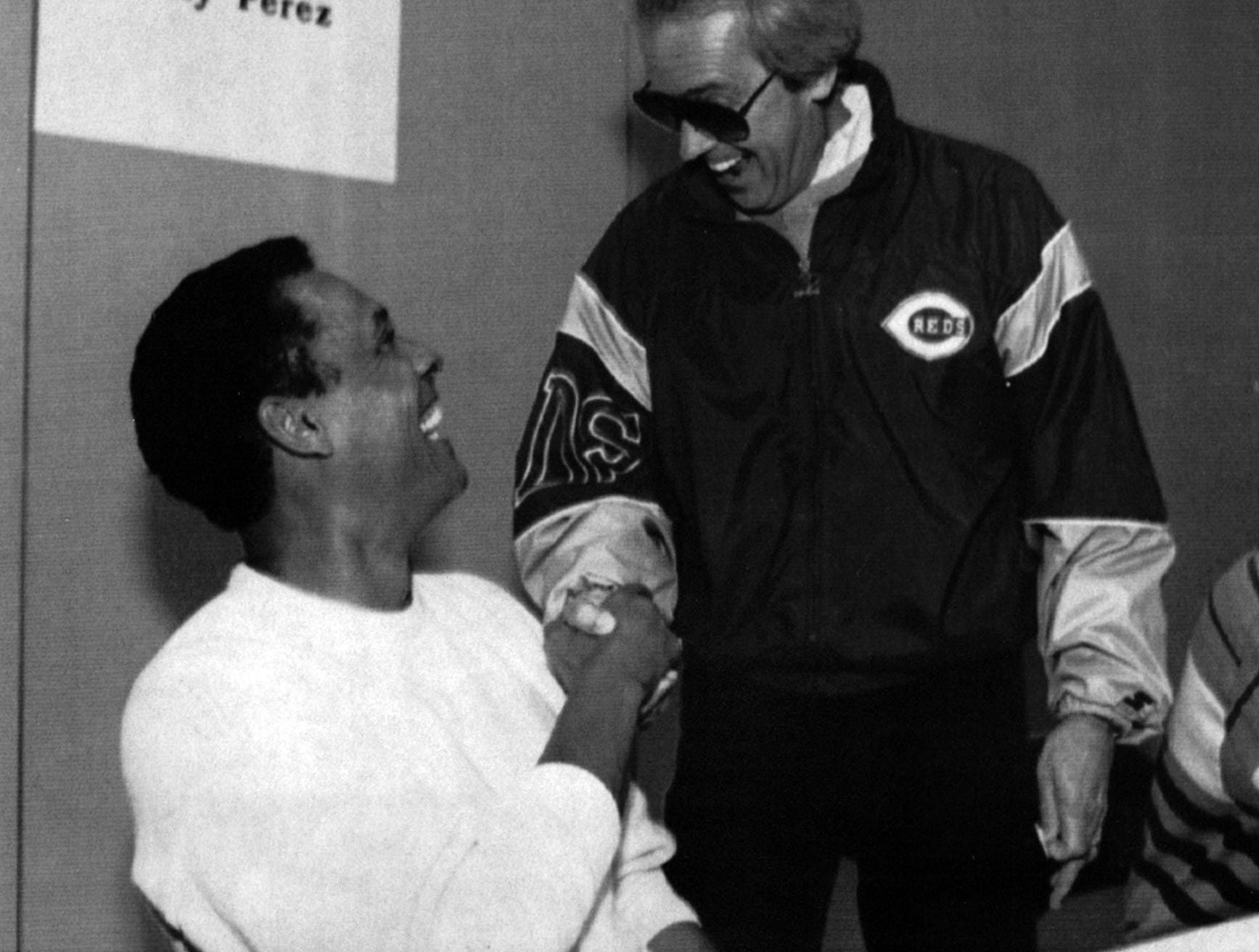 OCTOBER 31, 1992: New Reds' manager gets a warm greeting from Reds' announcer Marty Brennaman at a card trading show at the Convention Center Saturday. The Enquirer/Tony Jones