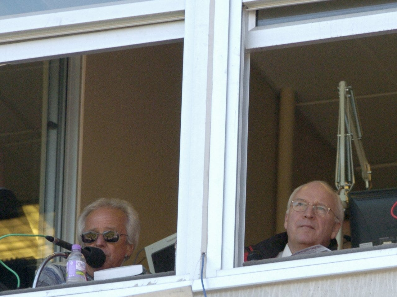 MONDAY APRIL 5, 2004 REDS SPORTS Vice-president Dick Cheney shared the broadcast booth with Reds announcer Marty Brennaman.The Chicago Cubs beat the Cincinnati Reds 7-4 in the home opener at the Great American Ball Park.