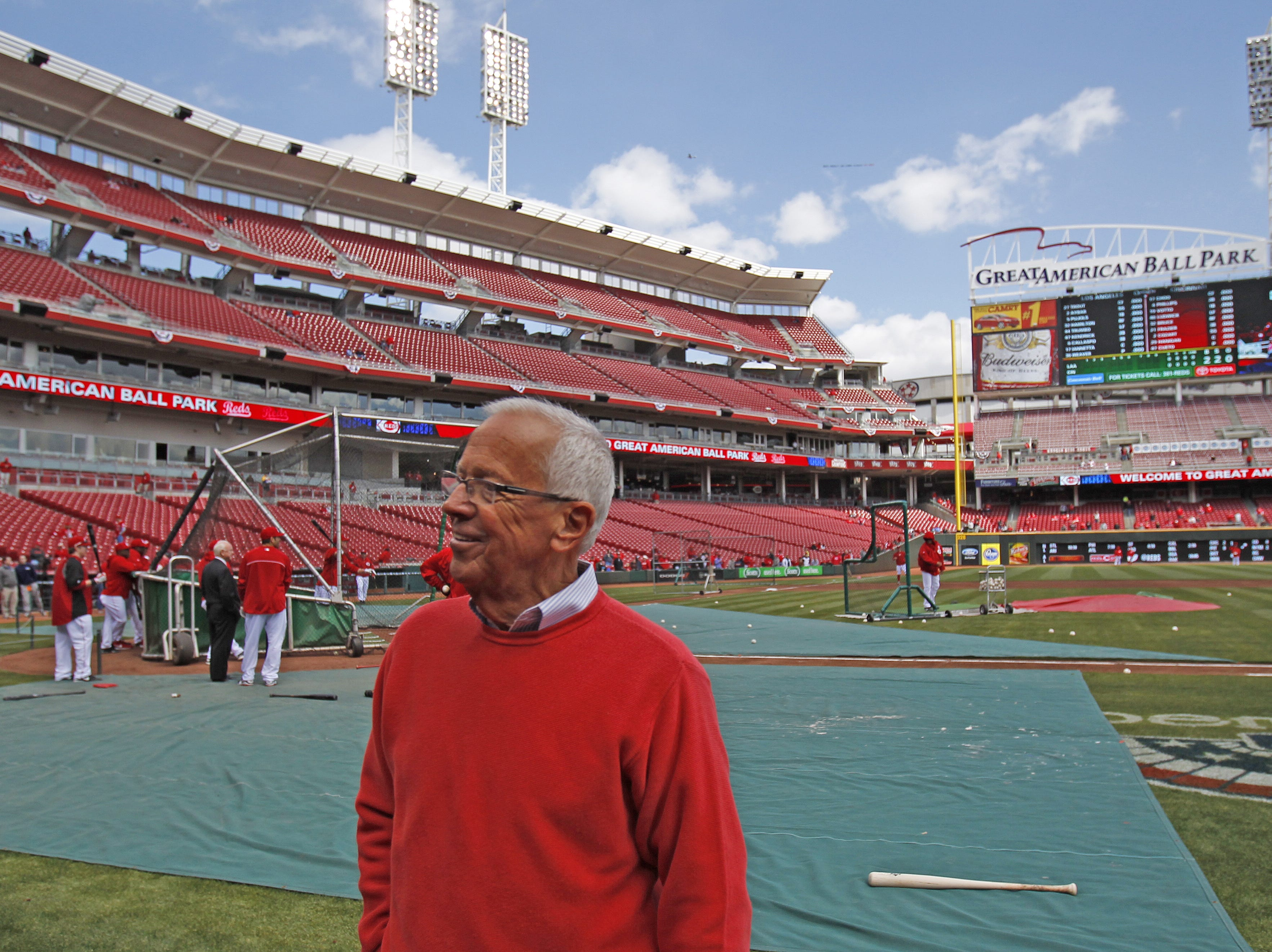 Reds-Angels. Cincinnati Reds Radio broadcaster Marty Brennaman will start his 40th season with the team during the Opening Day game played against the Los Angeles Angels at Great American Ball Park in Cincinnati, Ohio Monday April 1, 2013 .The Enquirer/Gary Landers