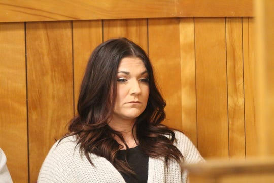 Mindy Harris, who is accused of helping Kirby Wallace after the Indian Mound home invasion slaying, in court on Jan. 14, 2019.