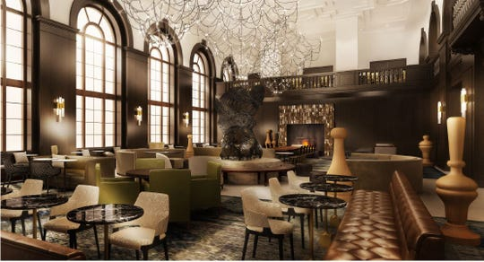 Hawkeye Hotels plans to recreate the original details in the Hotel Fort Des Moines lobby, including the two-story windows and a center sculpture piece.