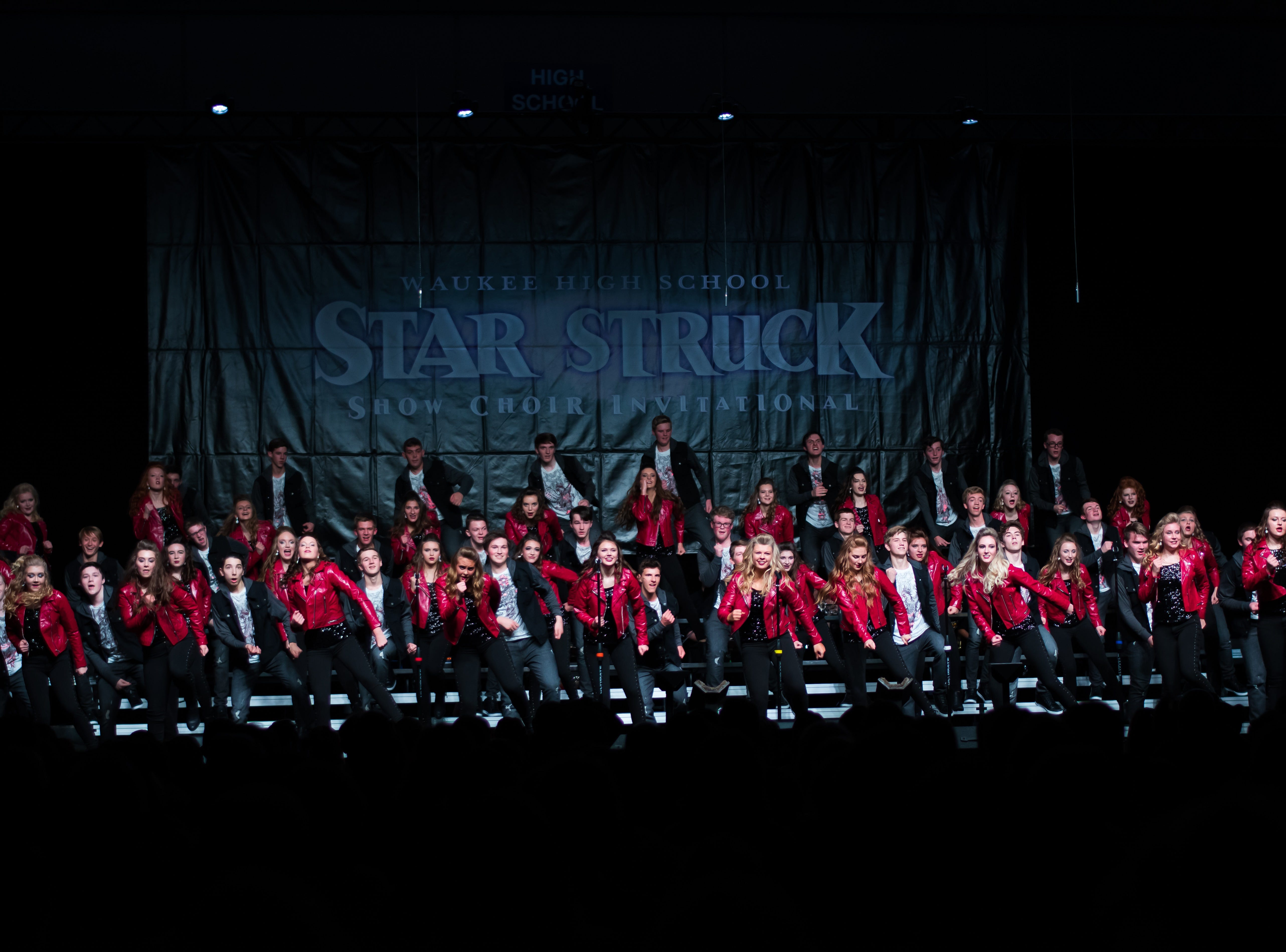 Johnston High show choir group Synergy performs on Saturday, Jan. 12, 2019 at the Waukee Star Struck Show Choir Invitational in the Waukee High School Field House.
