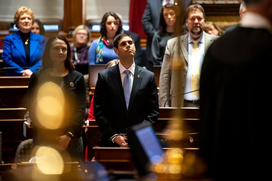 Sen. Nate Boulton, D-Des Moines, listens to first day proceedings in the Iowa Senate on Monday, Jan. 14, 2019, at the Iowa State Capitol in Des Moines.