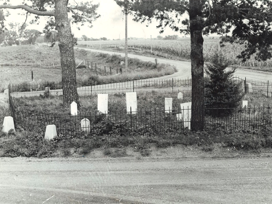 From 1936: Tiny Huston Cemetery, which sits in the intersection of 88th Street and Mills Civic Parkway in Dallas County is less than 50 feet in diameter and contains 19 headstones.
