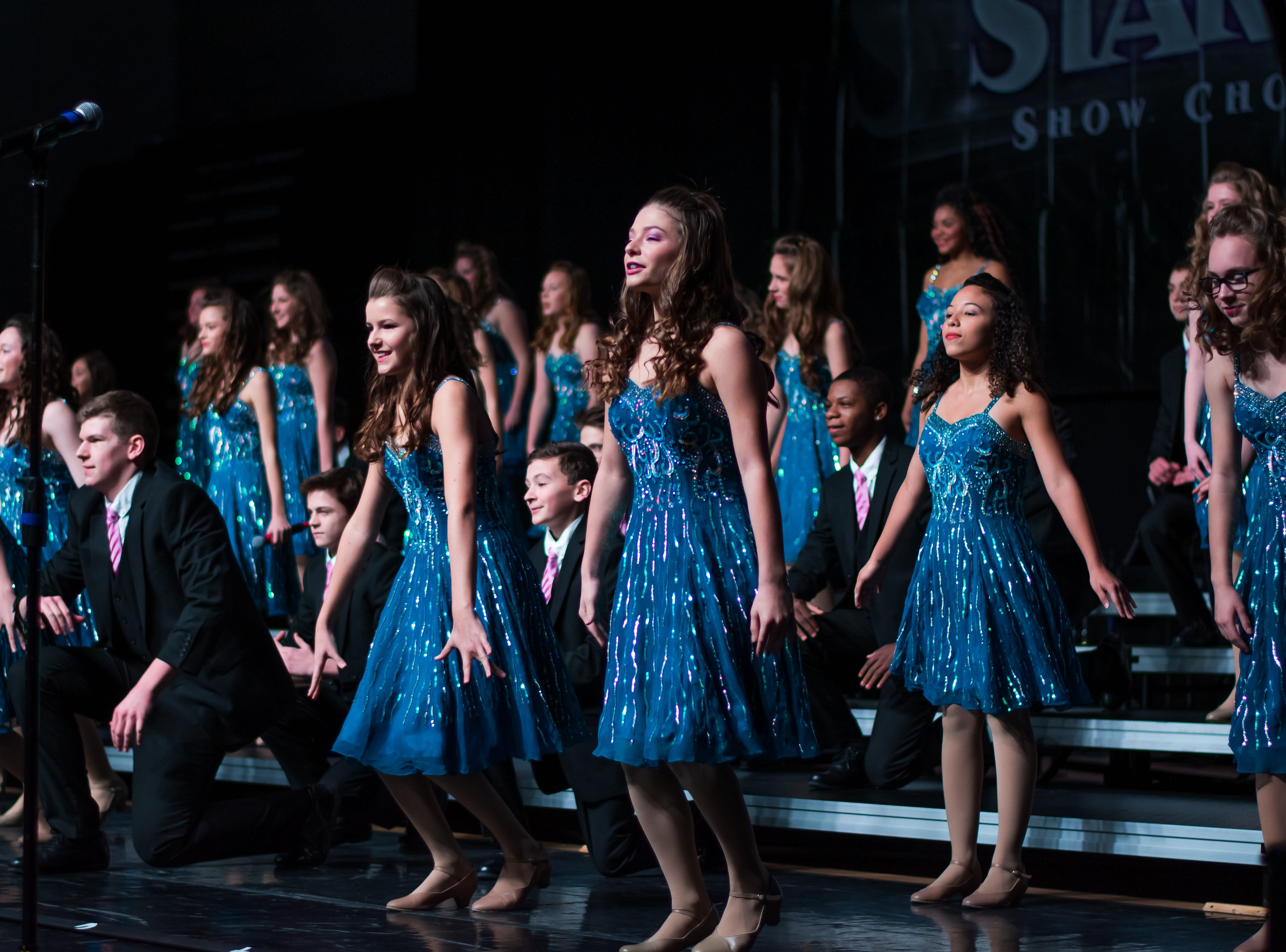 Waukee Timberline show choir group Inferno performs on Saturday, Jan. 12, 2019 at the Waukee Star Struck Show Choir Invitational in the Waukee High School Field House.