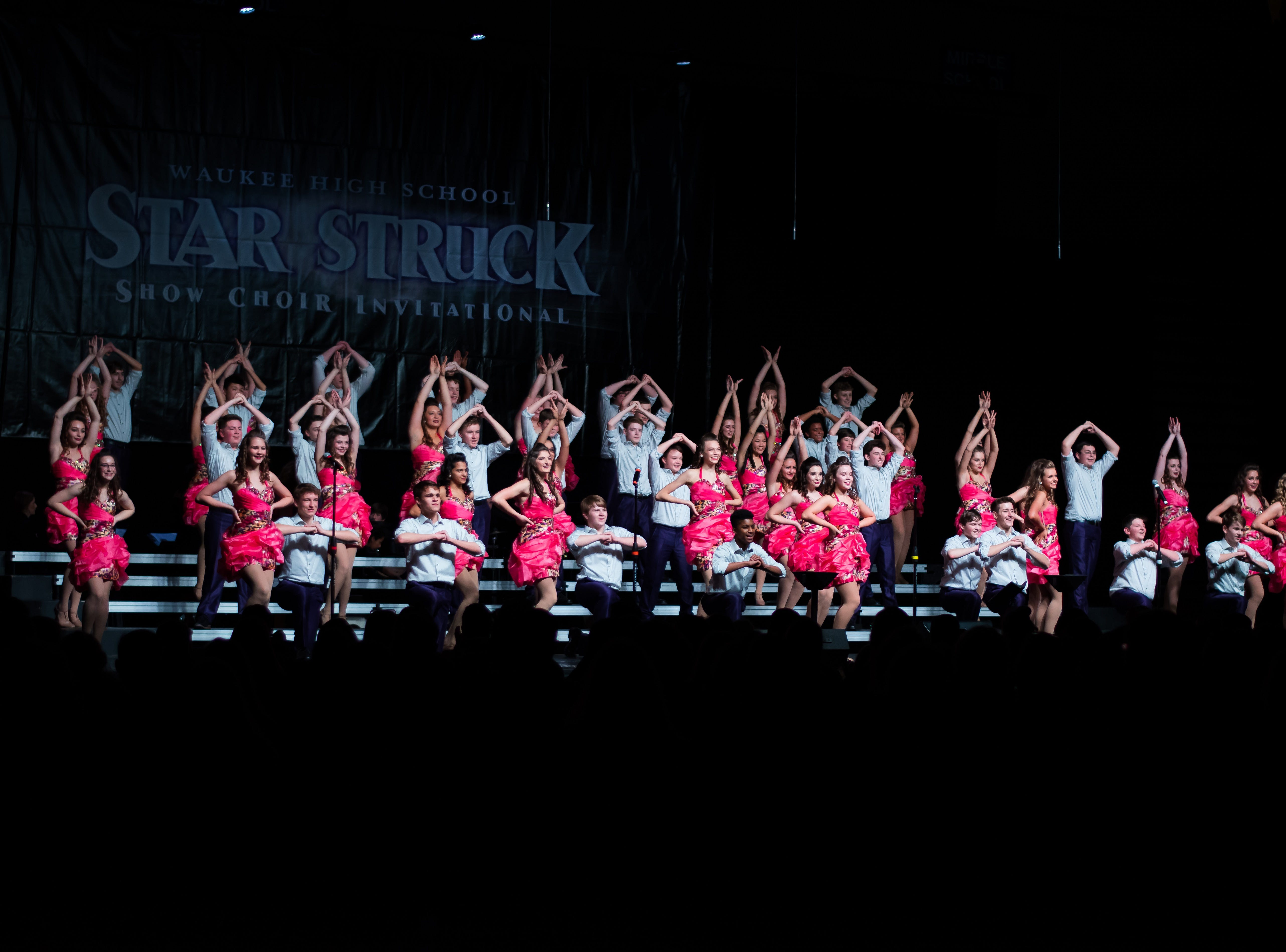 Johnston High show choir group Sound Advice performs on Saturday, Jan. 12, 2019 at the Waukee Star Struck Show Choir Invitational in the Waukee High School Field House.
