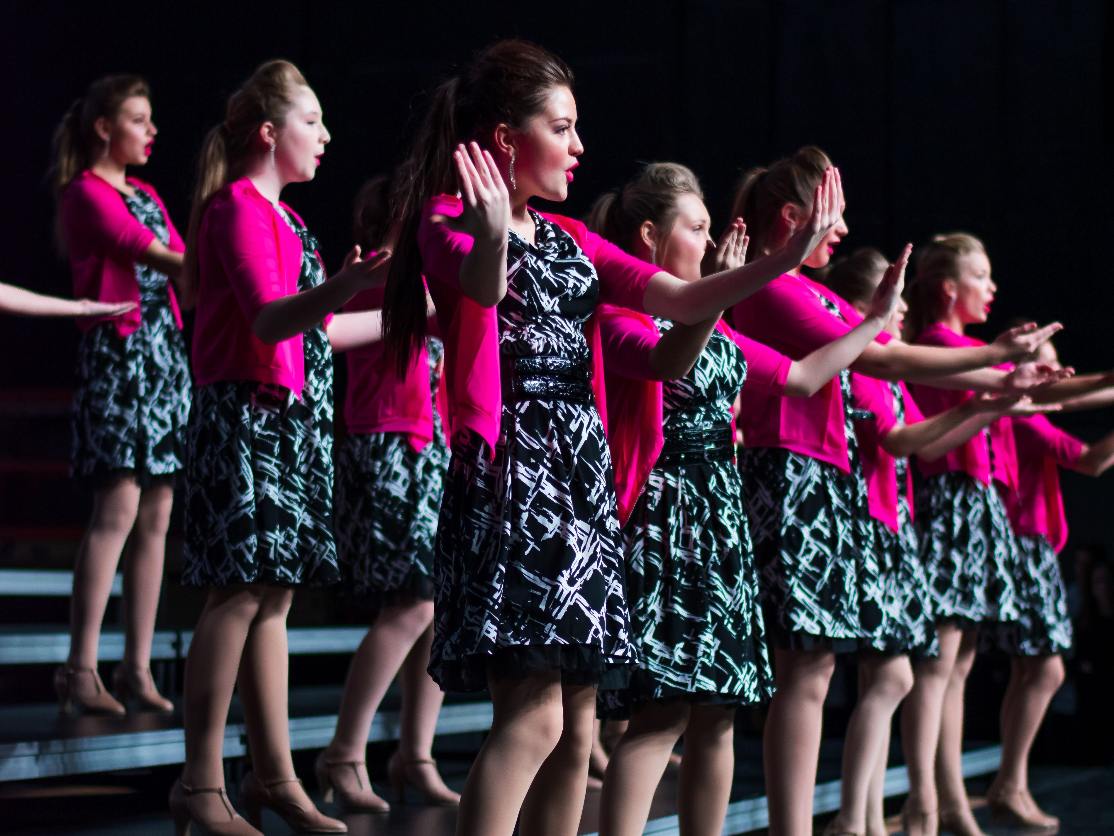 Des Moines Christian show choir group Salt, Co. performs on Saturday, Jan. 12, 2019 at the Waukee Star Struck Show Choir Invitational in the Waukee High School Field House.