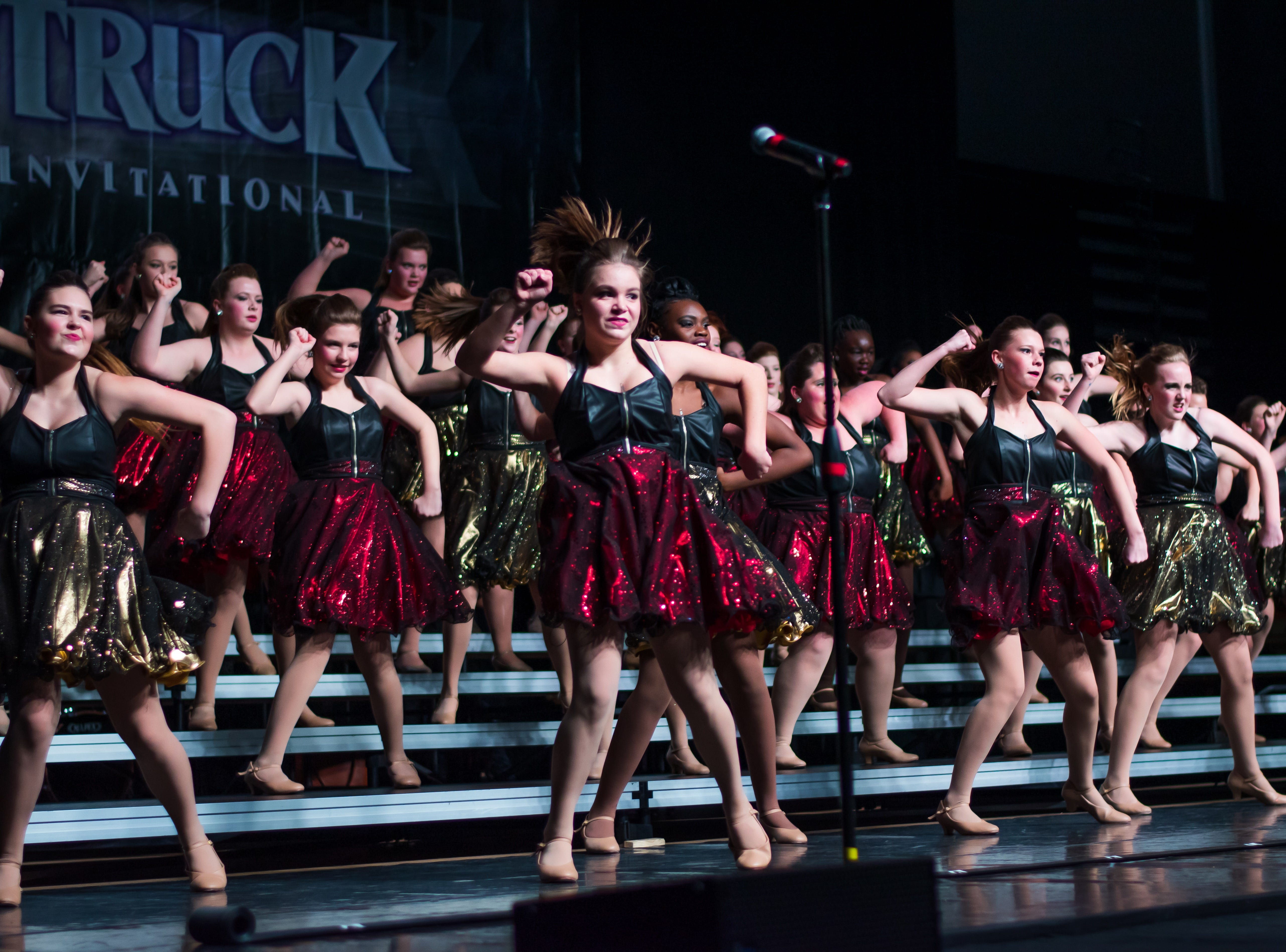 Southeast Polk High group Vocal Gold performs on Saturday, Jan. 12, 2019 at the Waukee Star Struck Show Choir Invitational in the Waukee High School Field House.