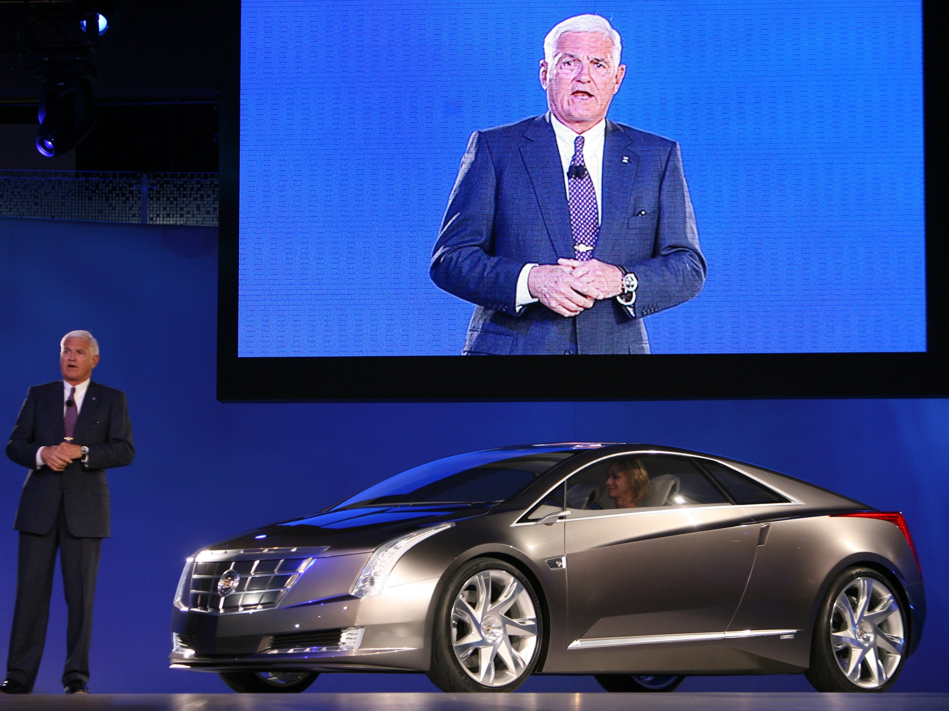 Bob Lutz, Vice Chairman Global Product Development introduces   the Cadillac Converj Concept  at the 2009 North American International Auto Show in Detroit.