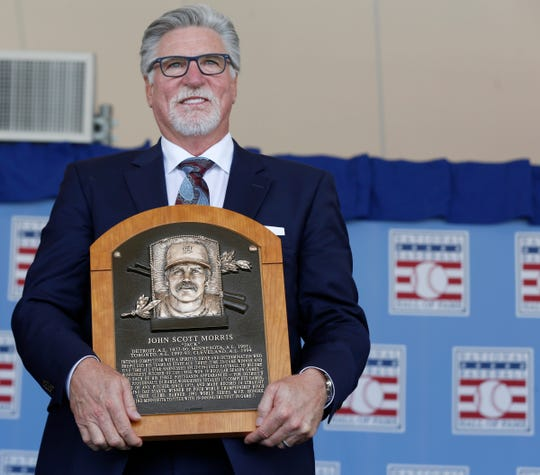 Jack Morris holds his Hall of Fame plaque in Cooperstown, N.Y. on July 29, 2018.
