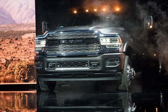Ram debuts the 2019 3500 heavy duty truck during the 2019 North American International Auto Show held at Cobo Center in downtown Detroit on Monday, Jan. 14, 2019.