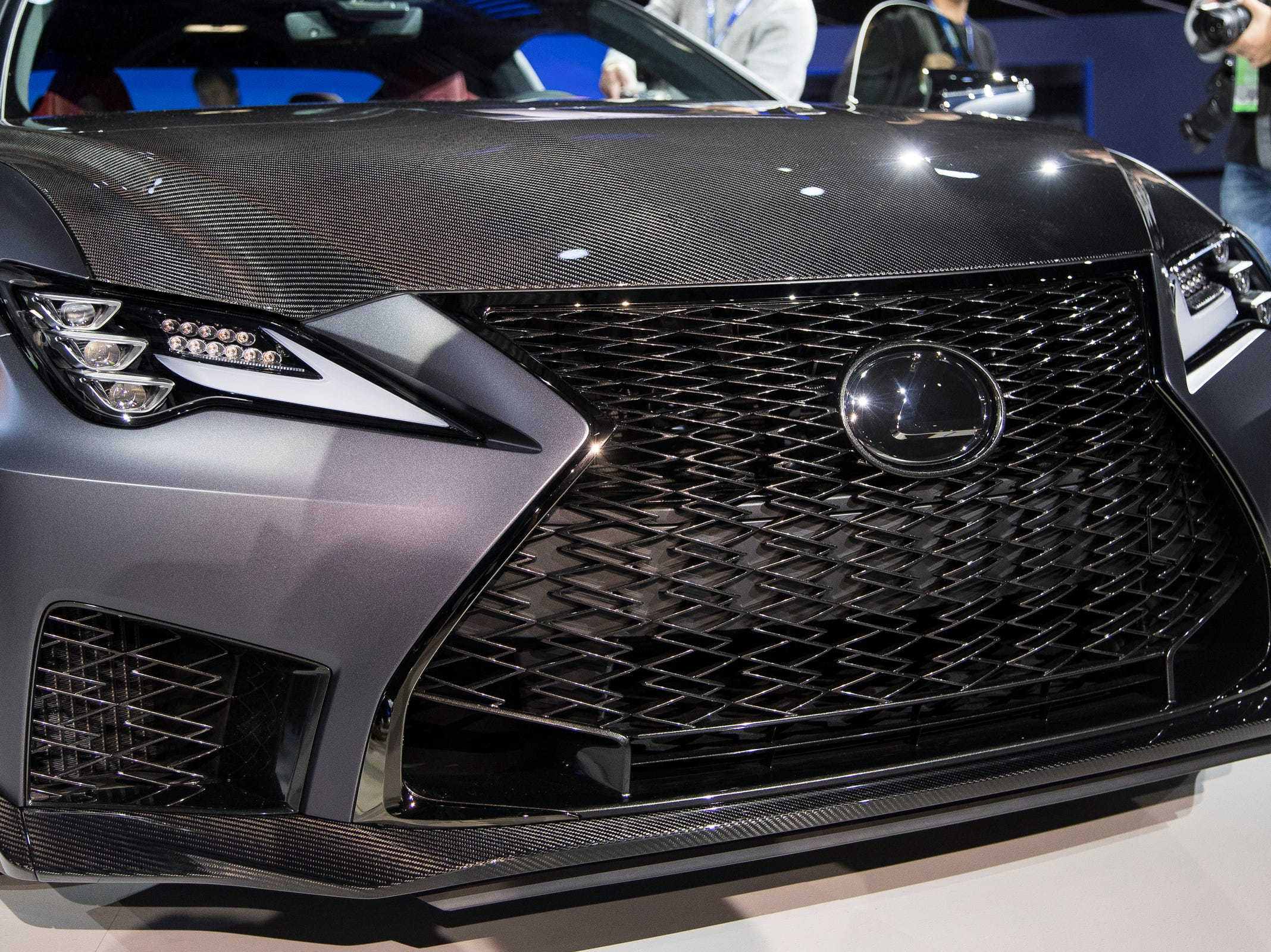 The  LexusRCF Track Edition front grill during the 2019 North American International Auto Show held at Cobo Center in downtown Detroit on Monday, Jan. 14, 2019.