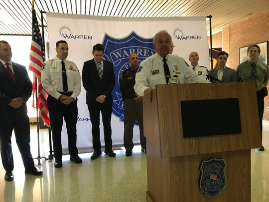 Warren Police Commissioner Bill Dwyer, center, talks about the new Federal Anti Narcotics Team of Macomb, a task force formed to combat drug trafficking in Macomb County. Dwyer is flanked by law enforcement and elected officials from the Drug Enforcement Administration and the five local police agencies participating in the task force during a news conference at Warren Police Headquarters on Jan. 14, 2019.