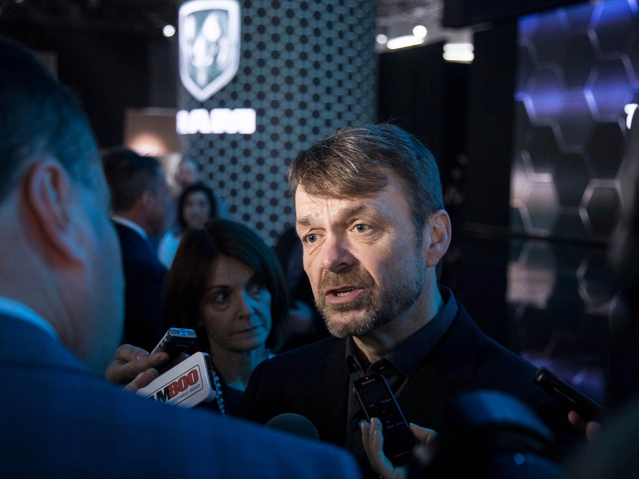 Mike Manley, CEO of FCA speaks to media members during the 2019 North American International Auto Show held at Cobo Center in downtown Detroit on Monday, Jan. 14, 2019.