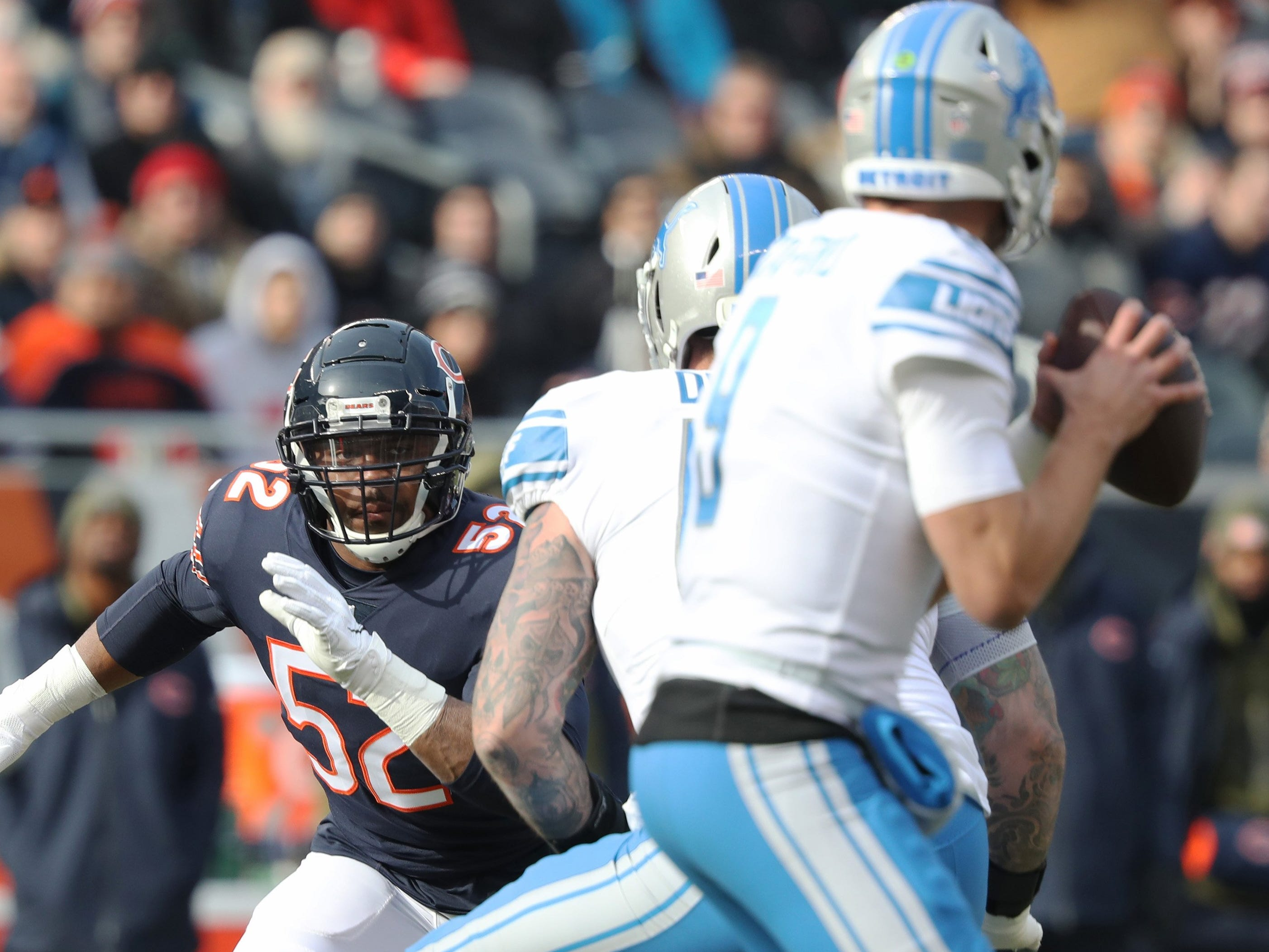 Bears linebacker Khalil Mack chases after Lions quarterback Matthew Stafford during the Lions' 34-22 loss on Sunday, Nov. 11, 2018, in Chicago.