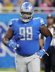 Lions defensive tackle Damon Harrison during the fourth quarter of the Lions' 28-14 loss on Sunday, Oct. 28, 2018, at Ford Field.