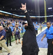 Lions coach Matt Patricia leaves the field after the 26-10 win over the Patriots on Sunday, Sept. 23, 2018, at Ford Field.