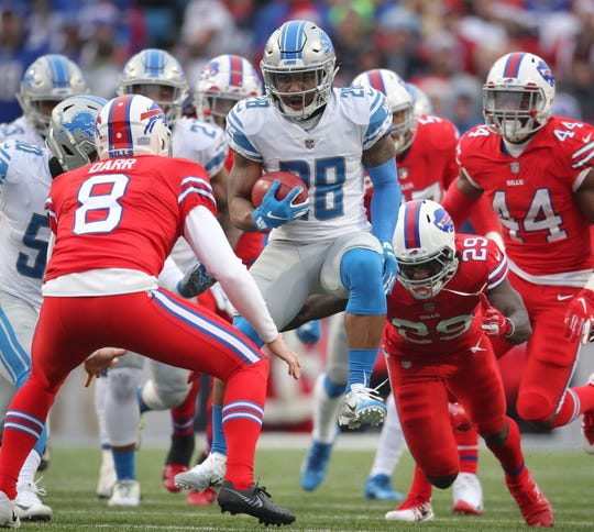 Lions safety Quandre Diggs returns a punt in the fourth quarter of the Lions' 14-13 loss on Sunday, Dec. 16, 2018, in Orchard Park, N.Y.