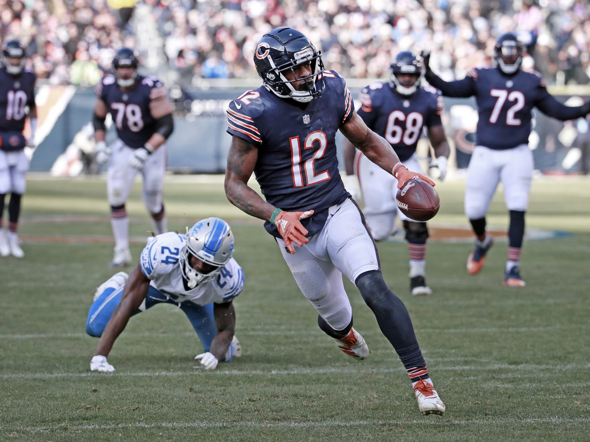 Bears wide receiver Allen Robinson on his way to a touchdown during the second half of the Lions' 34-22 loss on Sunday, Nov. 11, 2018, in Chicago.