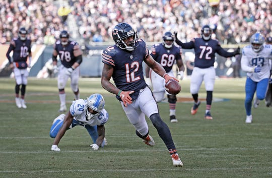 Bears receiver Allen Robinson on his way to a touchdown during the second half of the Lions' 34-22 loss Nov. 11, 2018, in Chicago.