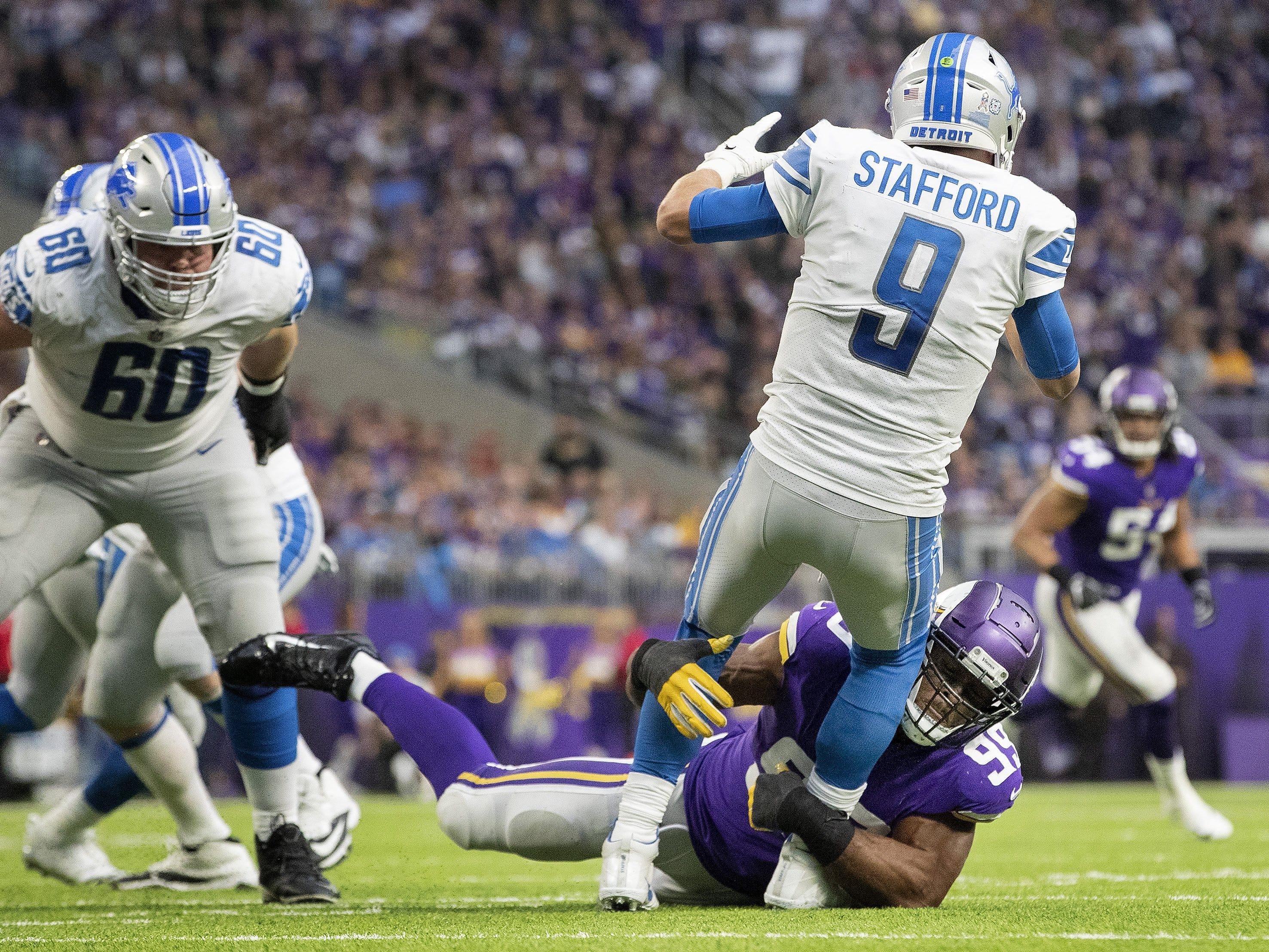Vikings defensive lineman Danielle Hunter sacks Lions quarterback Matthew Stafford in the third quarter of the Lions' 24-9 loss on Sunday, Nov. 4, 2018, in Minneapolis.