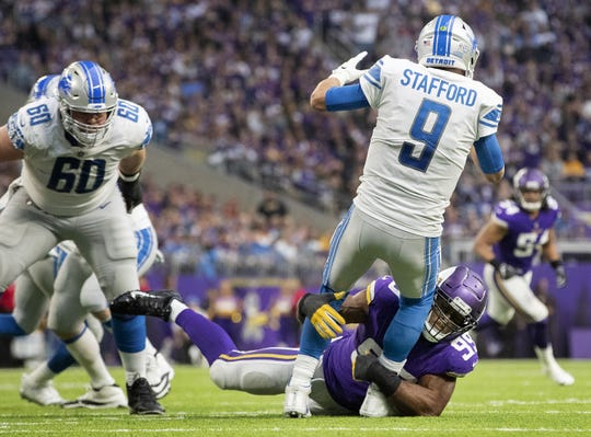 Vikings defensive lineman Danielle Hunter sacks Lions quarterback Matthew Stafford in the third quarter of the Lions' 24-9 loss on Sunday, Nov. 4, 2018, in Minneapolis.