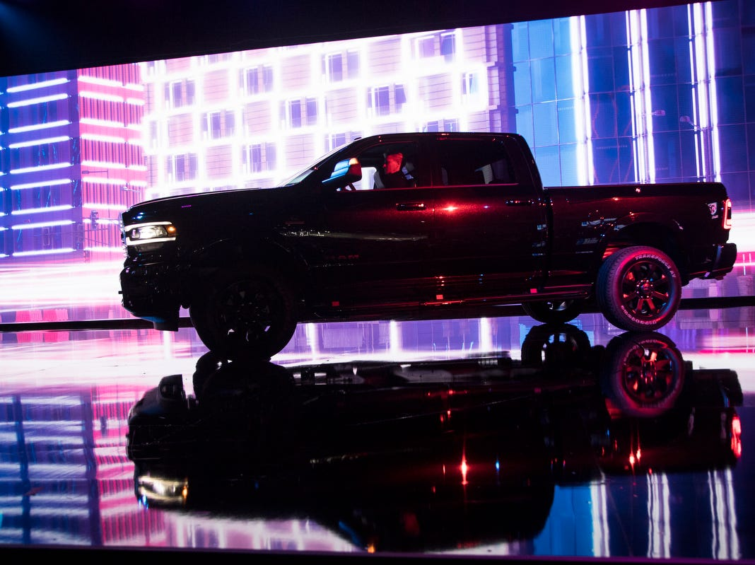 Ram debuts the 2019 2500 Laramie Black truck during the 2019 North American International Auto Show held at Cobo Center in downtown Detroit on Monday, Jan. 14, 2019.
