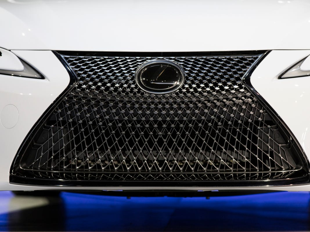 Front grill of the Lexus LC convertible concept during the 2019 North American International Auto Show held at Cobo Center in downtown Detroit on Monday, Jan. 14, 2019.