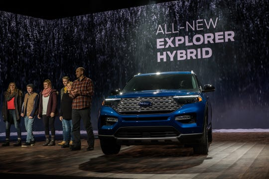 The all-new Ford Explorer Hybrid is introduced during the 2019 North American International Auto Show held at Cobo Center in downtown Detroit on Monday, Jan. 14, 2019.