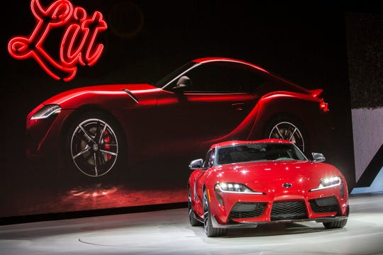 Toyota unveils the 2020 GR Supra during the 2019 North American International Auto Show held at Cobo Center in downtown Detroit on Monday, Jan. 14, 2019.