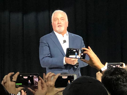 Cadillac President Steve Carlisle, at the 2019 Detroit Auto Show, introduces the new XT6 SUV and announces Cadillac will be General Motors lead on electric vehicles.