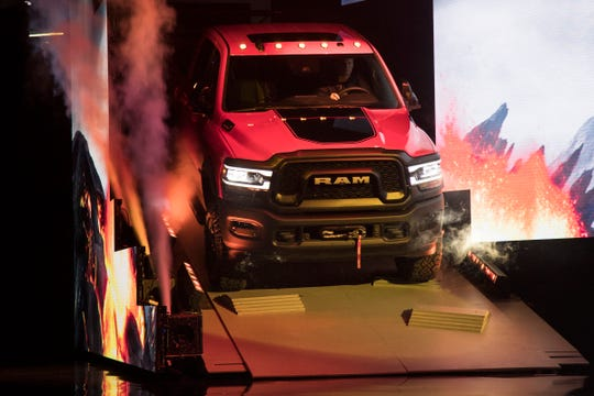 Ram debuts the 2019 2500 Power Wagon truck during the 2019 North American International Auto Show held at Cobo Center in downtown Detroit on Monday, Jan. 14, 2019.