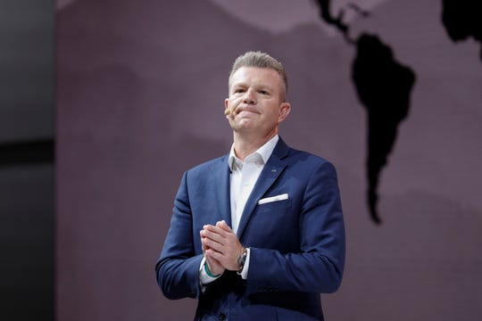 Christian Meunier, Chairman, Infiniti Motor Company, speaks at the reveal of the Infiniti QX Concept vehicle at the 2019 North American International Auto Show during Media preview days on January 14, 2019 in Detroit, Michigan.